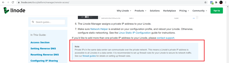 Linode Private Networking and Virtual Private Network