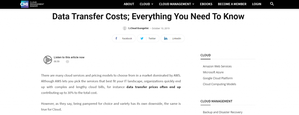 Data Transfer Cost Contribute 30% of Total Cost